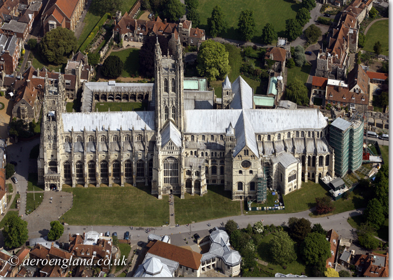 aerial photograph of           Canterbury Cathedral Kent England