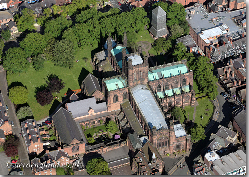 aerial photograph of Chester           Cathedral
