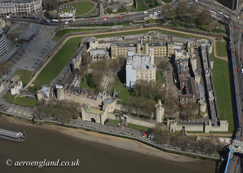 aerial           photograph of the Tower of London