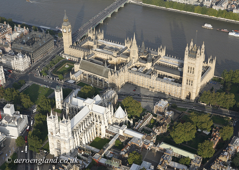aerial photo of         Westminster Cathedral and the Houses of Parliament London