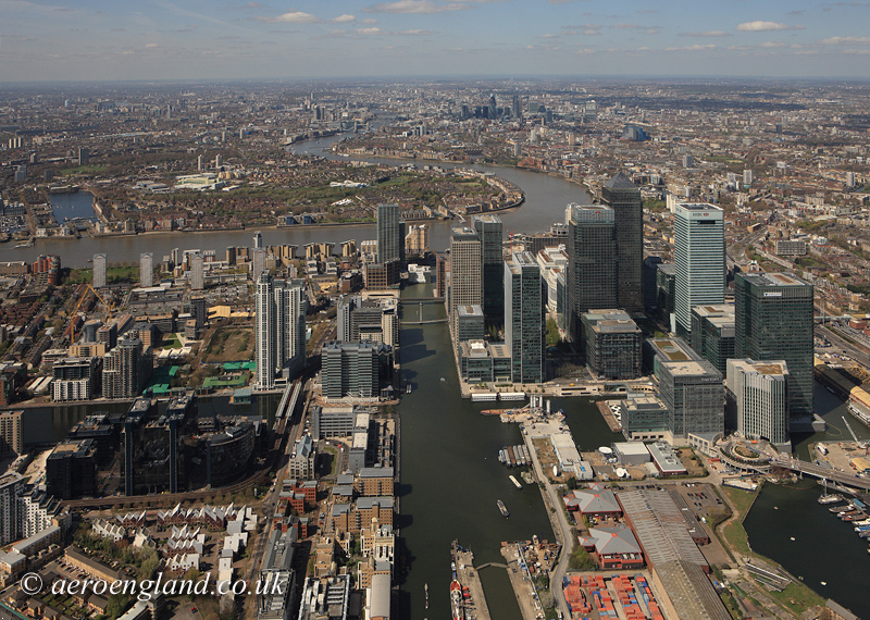 aerial           photograph of Docklands London inc Canary Wharf