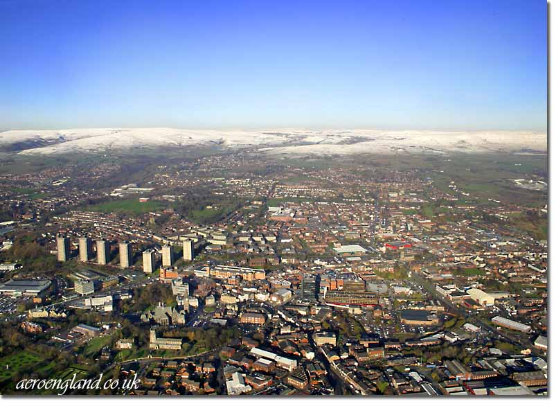 aerial photographs of Rochdale,           Greater Manchester