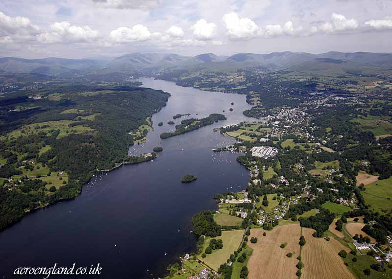 aerial photograph of           Windermer